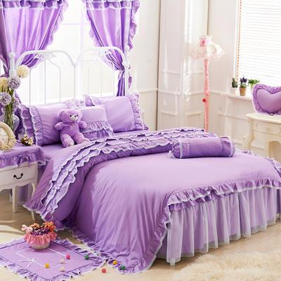 2016年韩版纯棉四件套 1.2m床裙款(三件套) 紫色物语