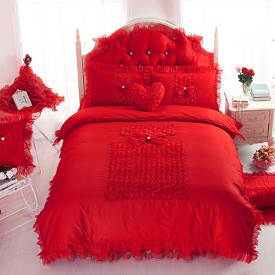 老款韩版蕾丝床裙四件套-香水玫瑰3色 1.5m床笠款 香水玫瑰-大红
