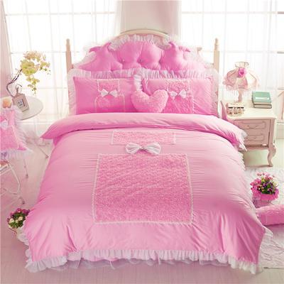 老款韩版蕾丝床裙四件套-香水玫瑰3色 1.5m床笠款 香水玫瑰-粉