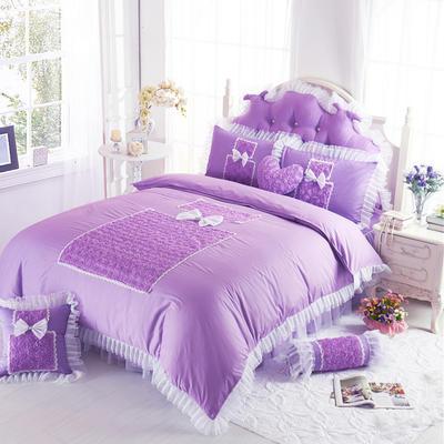 老款韩版蕾丝床裙四件套-香水玫瑰3色 1.5m床笠款 香水玫瑰-紫