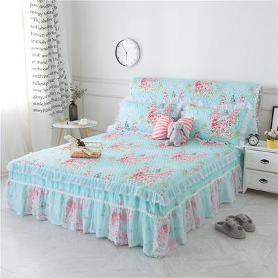 新款夹棉床裙(3款) 1.2米床头罩 爱丁堡蓝夹棉