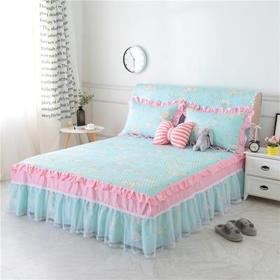 新款夹棉床裙(3款) 1.2米床头罩 宁静初开夹棉