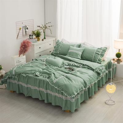 全棉单层四件套 梦幻女神 1.2m床 梦幻女神-豆绿