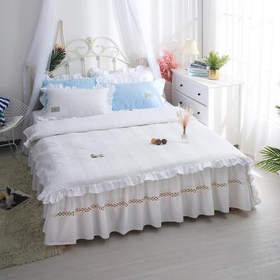安妮儿全棉夹棉四件套 1.5m床 白色