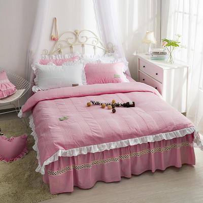 安妮儿全棉夹棉四件套 1.5m床 粉色