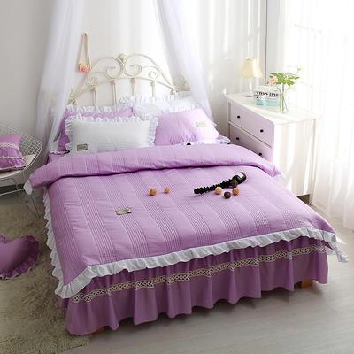 安妮儿全棉夹棉四件套 1.5m床 紫色