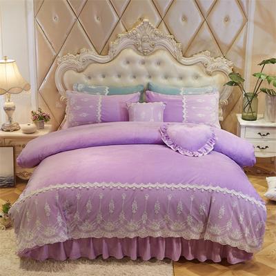 2018新款-风韵女神水晶绒床裙款四件套 1.2m(4英尺)床裙款 风韵女神-紫