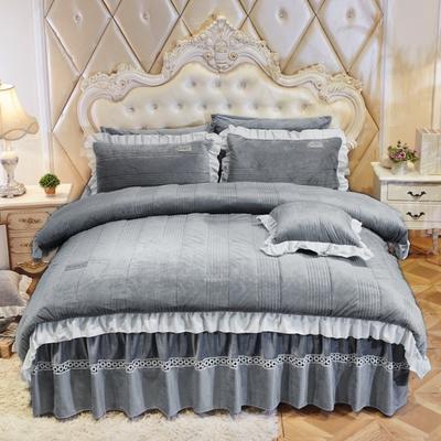水晶绒系列四件套 1.2m(4英尺)床 枕套一只 安妮儿-灰