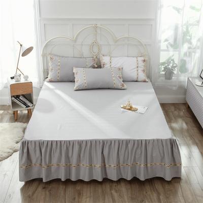 2019新款  玫瑰蜜语-床裙 150cmx200cm 浅灰
