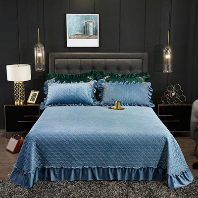 2019新款水晶绒夹棉单品床盖可配三件套 枕套/对 赛维娅雾霾蓝