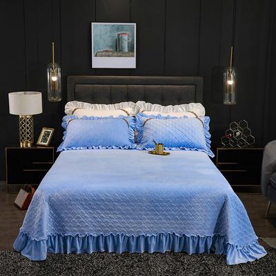 2019新款水晶绒夹棉单品床盖可配三件套 枕套/对 赛维娅天蓝