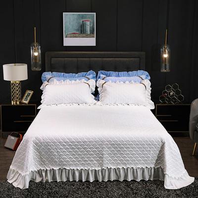 2019新款水晶绒夹棉单品床盖可配三件套 枕套/对 赛维娅白色