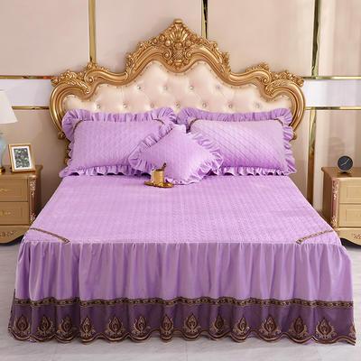 2019新款水晶绒夹棉单床裙可配三件套 枕套/对 艾莉斯酱紫