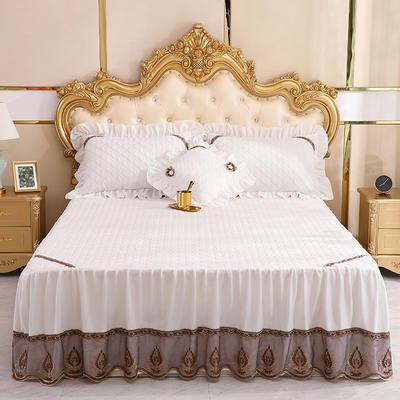 2019新款水晶绒夹棉单床裙可配三件套 枕套/对 艾莉斯白色