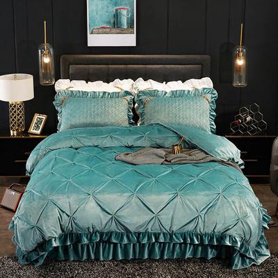 2019新款水晶绒夹棉床盖四件套 1.2m床盖款三件套(需定做) 赛维娅松绿