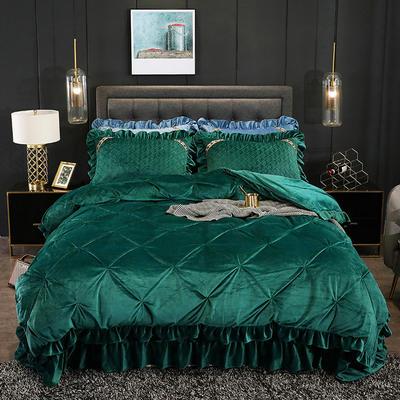 2019新款水晶绒夹棉床盖四件套 1.2m床盖款三件套(需定做) 赛维娅墨绿