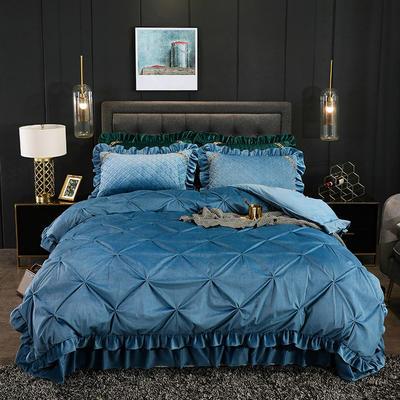 2019新款水晶绒夹棉床盖四件套 1.2m床盖款三件套(需定做) 赛维娅雾霾蓝
