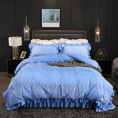 2019新款水晶绒夹棉床盖四件套 1.2m床盖款三件套(需定做) 赛维娅天蓝