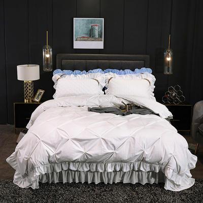 2019新款水晶绒夹棉床盖四件套 1.2m床盖款三件套(需定做) 赛维娅白色