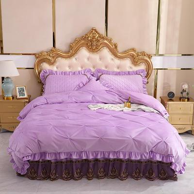 2019新款水晶绒夹棉床裙四件套 1.2m床裙款三件套(需定制) 艾莉斯酱紫
