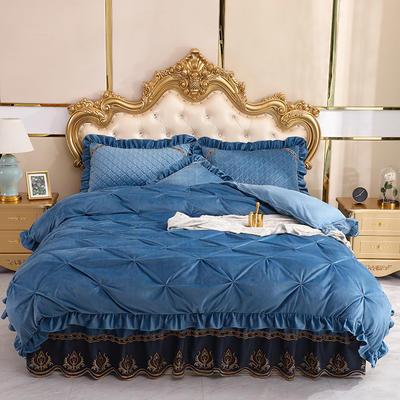 2019新款水晶绒夹棉床裙四件套 1.2m床裙款三件套(需定制) 艾莉斯雾霾蓝