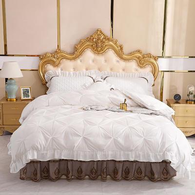 2019新款水晶绒夹棉床裙四件套 1.2m床裙款三件套(需定制) 艾莉斯白色