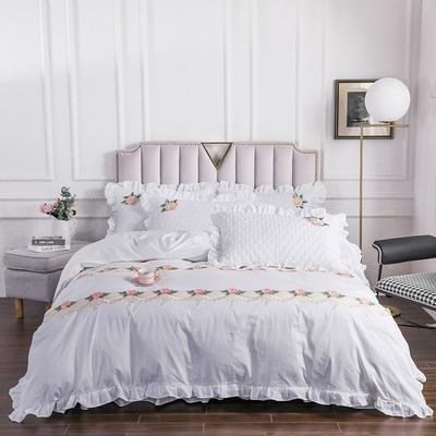 2020新款贵族床盖四件套系列 1.5m床盖四件套 珍珠白
