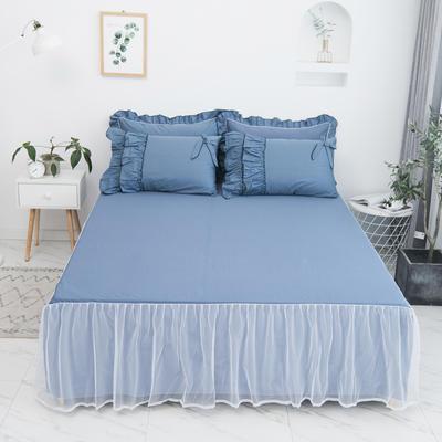 2020新款蝴蝶结单品床裙 150*200cm单床裙 薰衣草-藏蓝