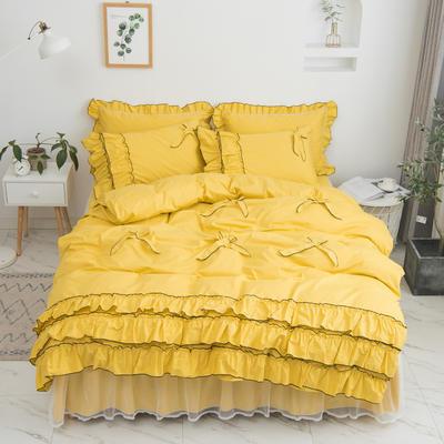 2020新款蝴蝶结床裙四件套 1.2m床裙款三件套 薰衣草-黄