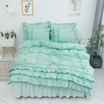 2020新款蝴蝶结床裙四件套 1.2m床裙款三件套 薰衣草-果绿