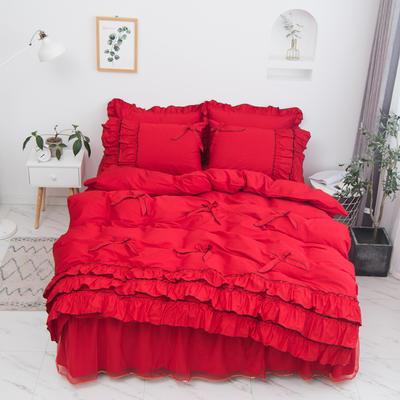 2020新款蝴蝶结床裙四件套 1.2m床裙款三件套 薰衣草-大红