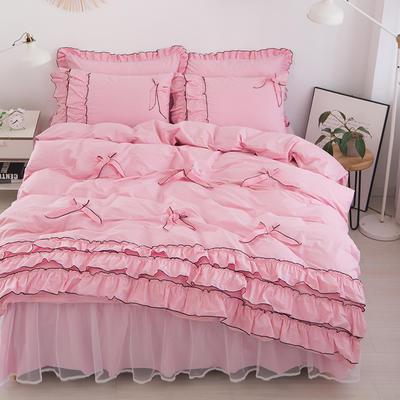 2020新款蝴蝶结床裙四件套 1.2m床裙款三件套 薰衣草-粉