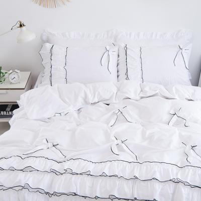 2020新款蝴蝶结床裙四件套 1.2m床裙款三件套 薰衣草-白