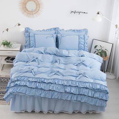 2020新款蝴蝶结床裙四件套 1.2m床裙款三件套 薰衣草-天蓝