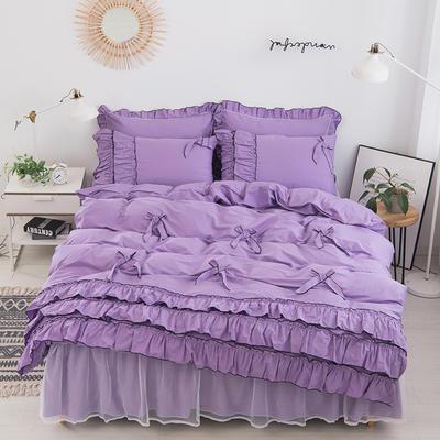 2020新款蝴蝶结床裙四件套 1.2m床裙款三件套 薰衣草-紫