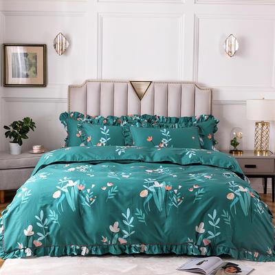 2020新款全棉13372印花床裙系列四件套 1.2m床裙款三件套 纤纤花语