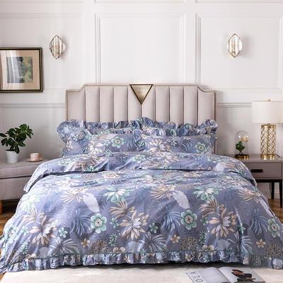 2020新款全棉13372印花床裙系列四件套 1.2m床裙款三件套 爱情花开