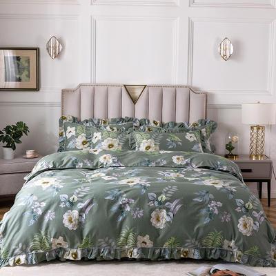 2020新款全棉13372印花床裙系列四件套 1.2m床裙款三件套 春色满园