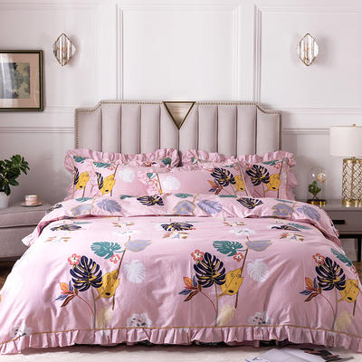 2020新款全棉13372印花床裙系列四件套 1.2m床裙款三件套 浪漫生活