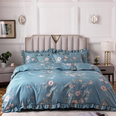 2020新款全棉13372印花床裙系列四件套 1.2m床裙款三件套 心动花园蓝