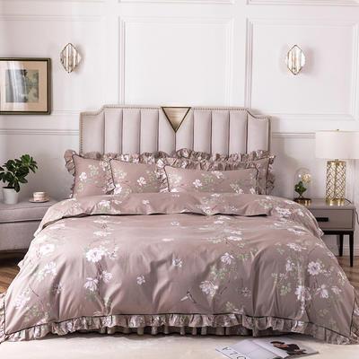 2020新款全棉13372印花床裙系列四件套 1.2m床裙款三件套 心动花园灰