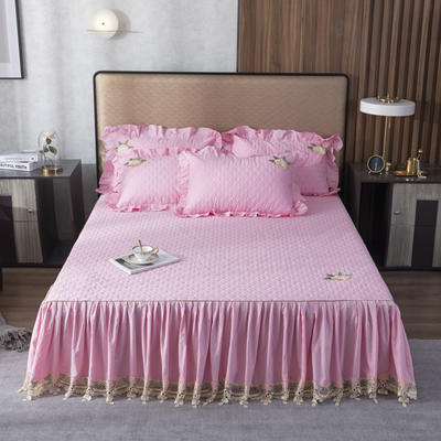 2020新款-蕾丝花边单品夹棉床裙 120*200 6少女粉