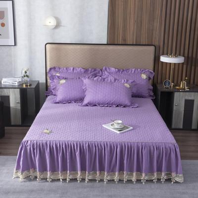 2020新款-蕾丝花边单品夹棉床裙 120*200 7香芋紫