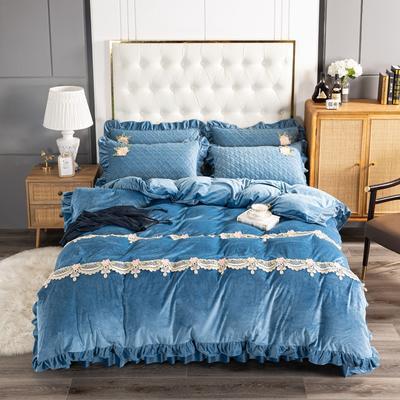 2020新款保暖水晶绒床盖四件套 1.5m床盖款四件套 暖宝-藏蓝