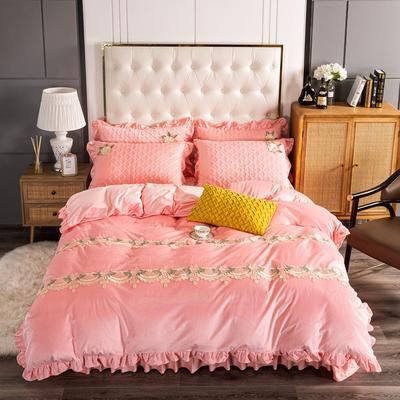 2020新款保暖水晶绒床盖四件套 1.5m床盖款四件套 暖宝-粉玉