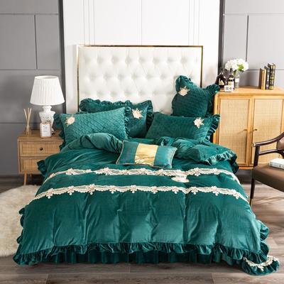 2020新款保暖水晶绒床盖四件套 1.5m床盖款四件套 暖宝-墨绿