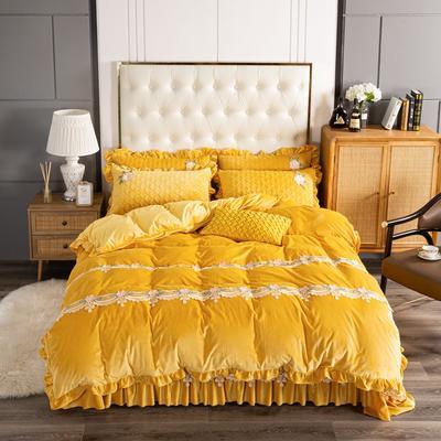 2020新款保暖水晶绒床盖四件套 1.5m床盖款四件套 暖宝-柠檬黄