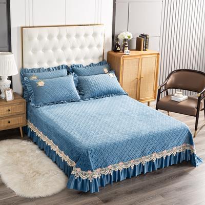 2020新款水晶绒夹棉床盖 180cmx230cm 暖宝-藏蓝