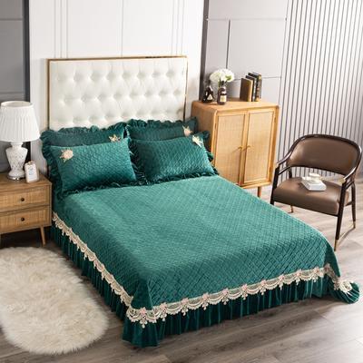 2020新款水晶绒夹棉床盖 180cmx230cm 暖宝-墨绿