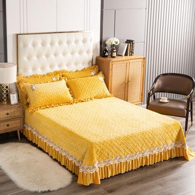 2020新款水晶绒夹棉床盖 180cmx230cm 暖宝-柠檬黄